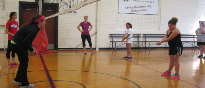 Volleyball practice at Armourdale Community Center