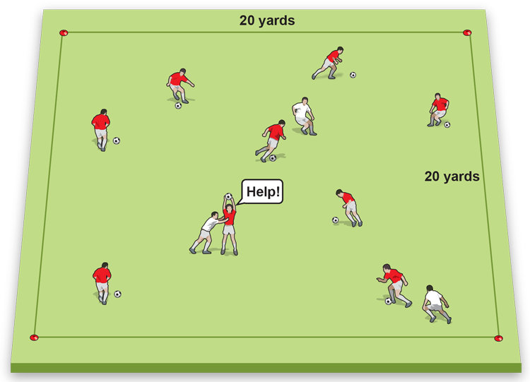 Youth will be in a large rectangle around the field using disc cones. The coach will be the one tagging the youth. The activity will have the youth start at one end and dribble a soccer ball around the space without being tagged. Once a student is tagged, they must pick up their ball, hold it above their head, spread their legs wide, and freeze. The goal is for students who are not frozen to unfreeze their teammates, this is done by passing their soccer ball between the legs of their frozen teammates. Students are free to resume dribbling once a teammate has unfrozen them. The game continues as long as the coach desires or if all the students get frozen. This activity combines teamwork, passing, and dribbling.